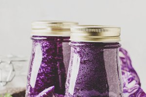 Vegan vegetable smoothie with purple