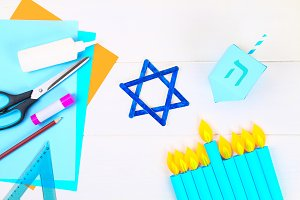 Menorah, dreidel, sevivon, the star