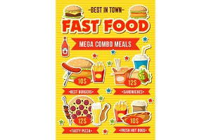 Fast food restaurant combo meal menu