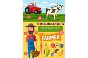 Farmer on farm, cow and tractor