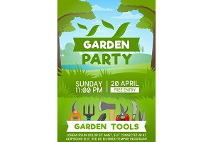 Gardening tools on green grass