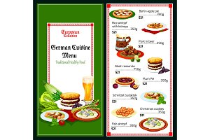 German and bavarian cuisine menu