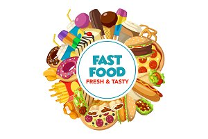 Fast food burger, drink and dessert