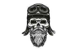 Biker skull in helmet and glasses