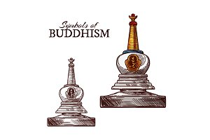 Buddhist stupa sketch