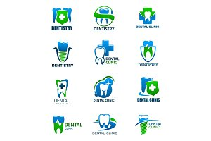 Dentistry icons with tooth, shield