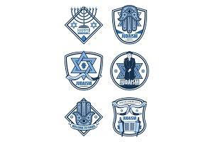 Judaism and Hanukkah holiday icons