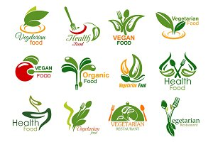 Vegetarian restaurant food icons