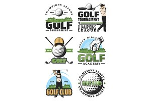 Golf club icons, ball and golfer