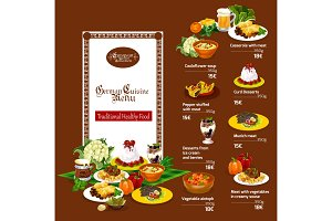 German cuisine menu with dishes
