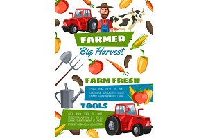 Happy farmer, equipment, vegetables