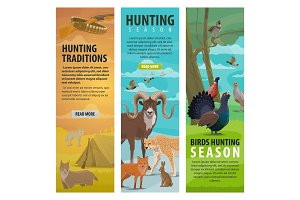 Animals and hunter, hunting sport