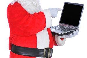 Santa Claus Pointing at Laptop