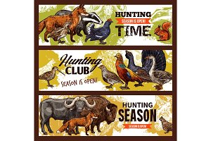 Hunting sport animals and birds