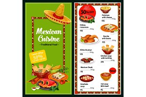 Mexican restaurant menu dishes