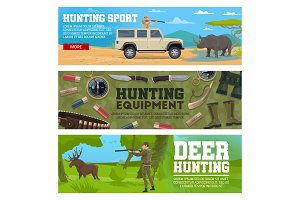 Hunter, animal and hunting equipment