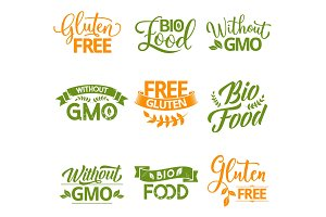 Bio, organic and natural food icons