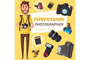 Photographer with items and camera
