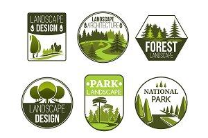 Landscape design vector icons