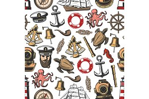 Vintage nautical seamless pattern