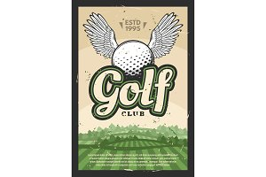 Golf club poster, winged sport ball