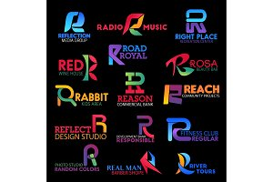 Business identity symbols, letter R