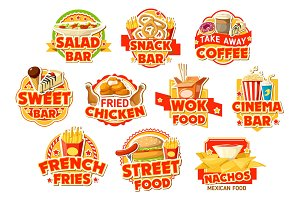 Fast food labels, burgers and drinks