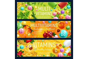 Multivitamin banners, natural food