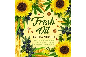Natural cooking oil and vegetables