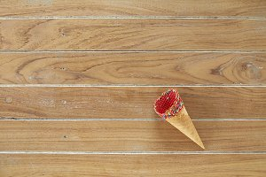 Flat-lay of waffle sweet cone