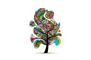 Floral magic tree, sketch for your