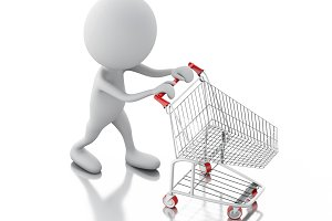 3d white people with shopping cart i