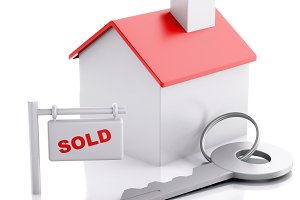 sold house sign on white background.