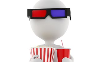 3d white man with 3d glasses, drink