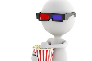 3d white man with 3d glasses and pop