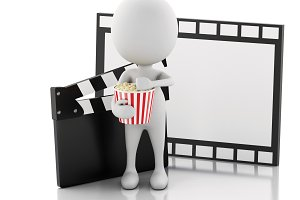 3d white man with cinema clapper, po