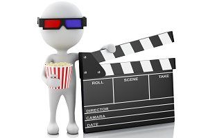 3d white man with clapper board and
