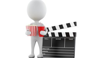 3d white man with clapper board, pop