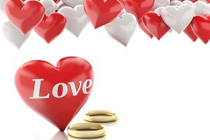 3d gold ring and Heart balloons. Val