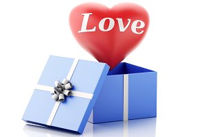3d red heart in a gift box. Valentin