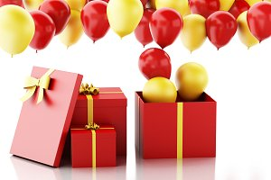 3d gift box with red and yellow balo