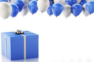 3d gift box with blue and white balo