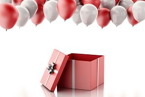 3d Open gift box with red and white