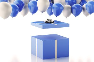 3d Open gift box with blue and white