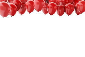Red balloons isolated on white backg