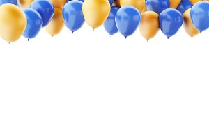 Blue and orange balloons isolated on