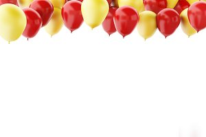 Red and yellow balloons isolated on