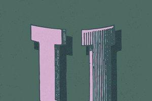letter U vintage typography style