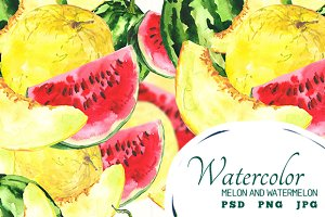 Watercolor Melon and Watermelon
