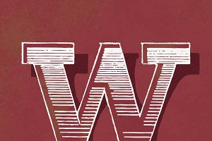 letter W vintage typography style